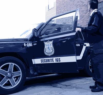 Patrouilleur et voiture de sécurité I.G.S.